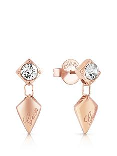 guess-guess-rose-gold-tone-crystal-set-logo-arrow-drop-earrings