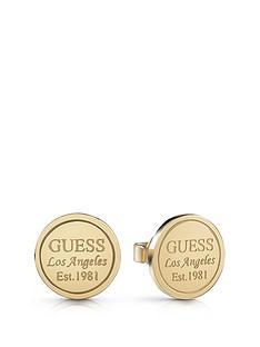 guess-gold-tone-logo-stud-earrings