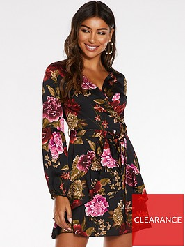 quiz-quiz-satin-floral-wrap-front-balloon-sleeve-frill-skirt-dress