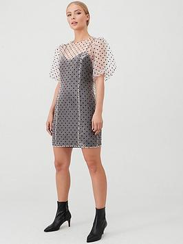 v-by-very-spot-organza-puff-sleeve-dress-spot
