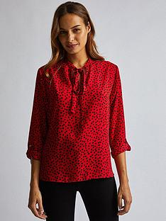 dorothy-perkins-dorothy-perkins-spot-tie-necknbspbatwing-blouse-red
