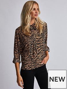 dorothy-perkins-dorothy-perkins-zebra-tie-neck-batwing-blouse-tan