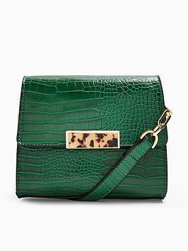 topshop-skye-croc-cross-body-bag-green
