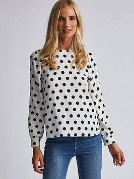 dorothy-perkins-dorothy-perkins-spot-balloon-sleeve-blouse-white