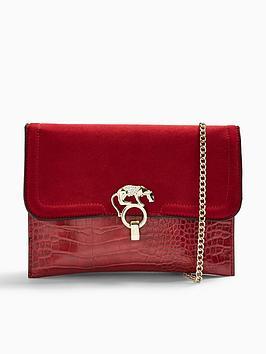 topshop-topshop-panther-clutch-bag-red