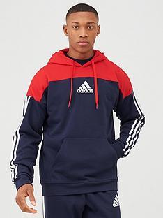 adidas-3-stripe-panel-overhead-hoodie-rednavy