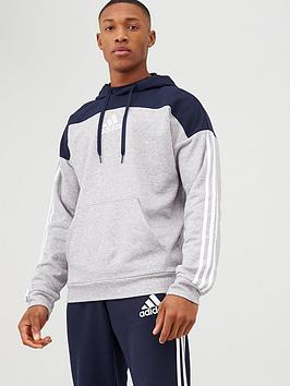 adidas-3-stripe-panel-overhead-hoodie-greynavy