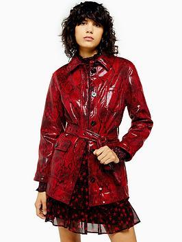topshop-vinyl-snake-belted-jacket-red