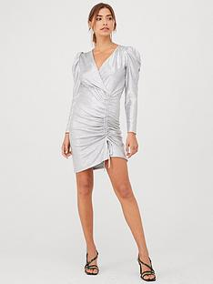 v-by-very-ruched-jersey-foil-mini-dress-silver