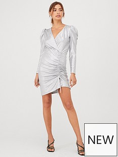 v-by-very-ruched-jersey-mini-party-dress-silver