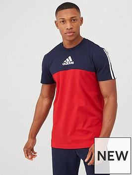 adidas-3-stripe-panel-t-shirt-rednavy
