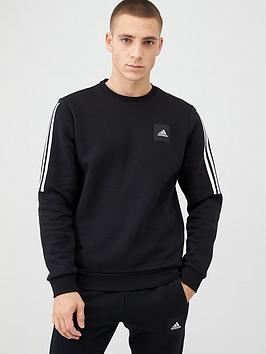 adidas-3-stripe-crew-sweat-black