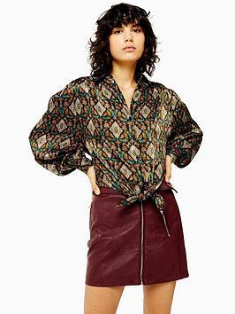 topshop-topshop-tile-print-knot-front-shirt-multi