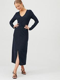 v-by-very-ruched-sparkle-lurex-midi-dress-navy
