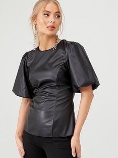 v-by-very-pu-blouson-sleeve-blouse-black