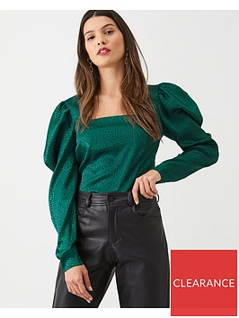 v-by-very-square-neck-jacquardnbspblouse-green
