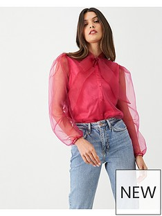 v-by-very-organza-pussybow-blouse-pink