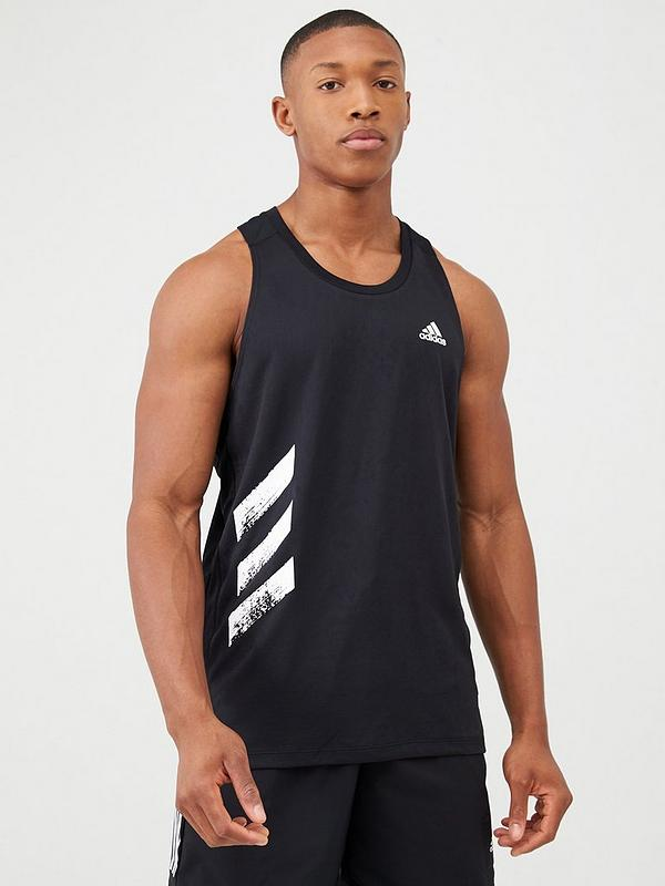 Miniatura ir a buscar gris  adidas Own The Run Running Vest - Black | very.co.uk