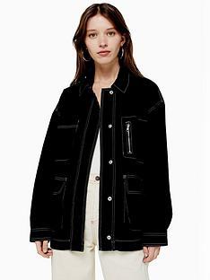 topshop-contrast-stitch-utility-jacket-black