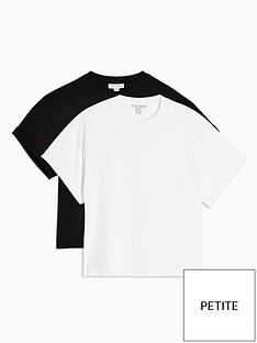 topshop-topshop-petite-2-pack-boxy-roll-t-shirts-blackwhite