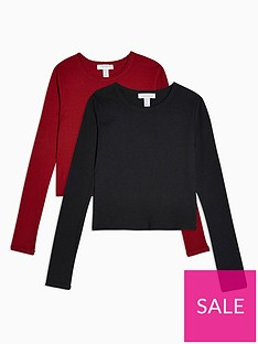 topshop-topshop-petite-2-pack-long-sleeve-scalloped-t-shirts-redblack