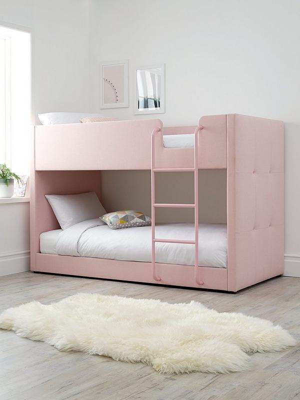 Lubana Fabric Bunk Bed Frame With Mattress Options Buy And Save Pink Very Co Uk
