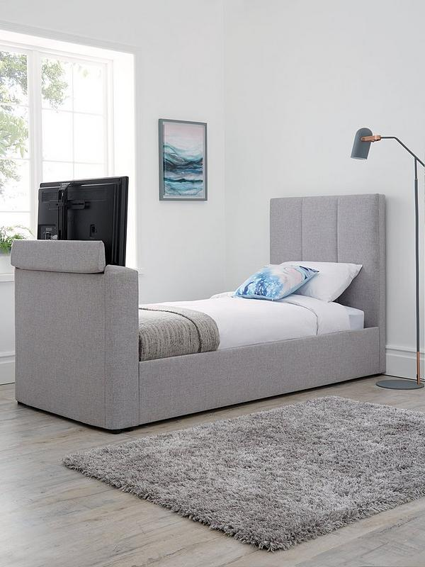 Parker Fabric Manual Tv Bed Fits Up, Queen Size Tv Bed