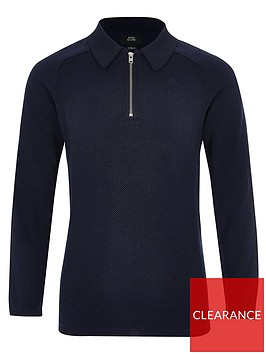 river-island-boys-pique-long-sleeve-polo-shirt-navy