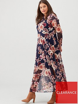 v-by-very-curve-long-sleeve-mesh-maxi-dress-navyfloral
