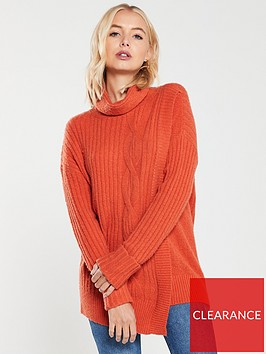 wallis-cable-knit-wrap-jumper-orange