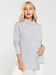 wallis-cable-knit-wrap-jumper-grey