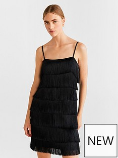 mango-fringed-dress-black
