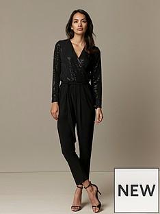 wallis-petite-sparkle-jumpsuit-black