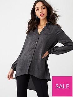 wallis-metallic-sparkle-blouse-black