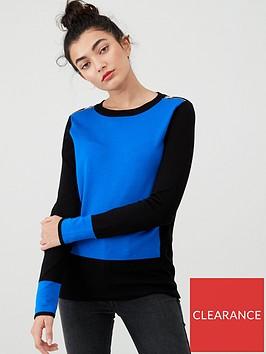 wallis-zip-shoulder-colour-block-jumper-blue