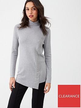 wallis-stud-wrap-jumper-grey