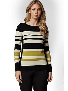 wallis-petite-contrast-stripe-jumper-lime