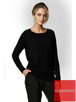 wallis-petite-stud-zip-jumper-black