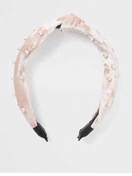 river-island-river-island-crushed-velvet-alice-band-light-pink