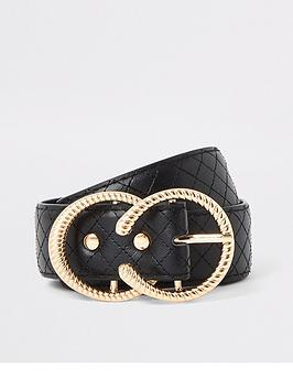 river-island-river-island-quilted-double-ring-belt-black