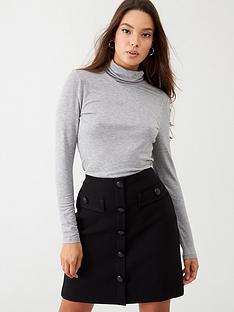 wallis-military-button-skirt-black