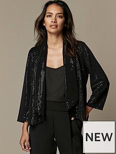 wallis-petite-sparkle-daisy-jacket-black