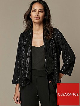 wallis-petite-sparkle-daisy-jacket-black
