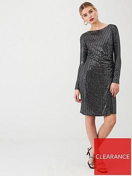 wallis-sparkle-ruched-side-dress-silver