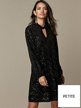 wallis-petite-stardust-sequin-twist-neck-dress-black
