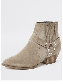 river-island-river-island-faux-suede-western-ankle-boot-beige
