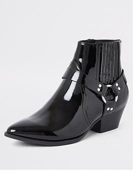 river-island-river-island-patent-western-ankle-boot-black