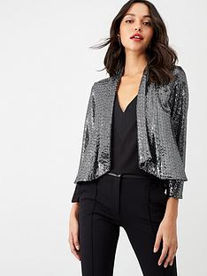 wallis-sequin-cropped-waterfall-jacket-silver
