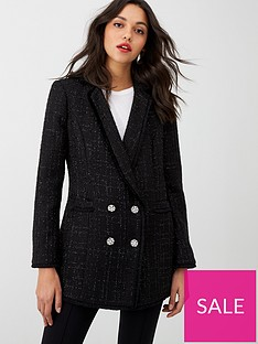 wallis-frayed-hem-boucle-blazer-black