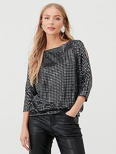 wallis-wallis-shimmer-sequin-slash-neck